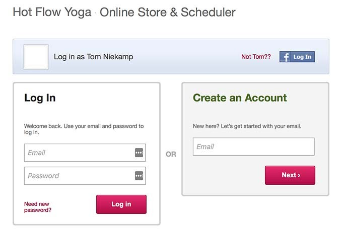 Login screen Hot Flow Yoga Studios Amsterdam